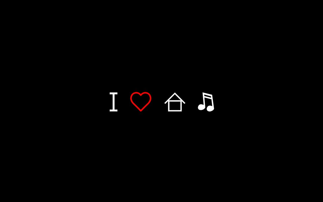 Love minimalistic music hearts house music black background wallpaper