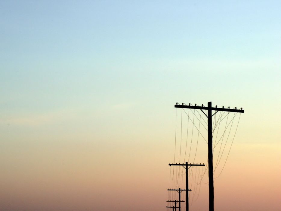 Sunset power lines skyscapes wallpaper