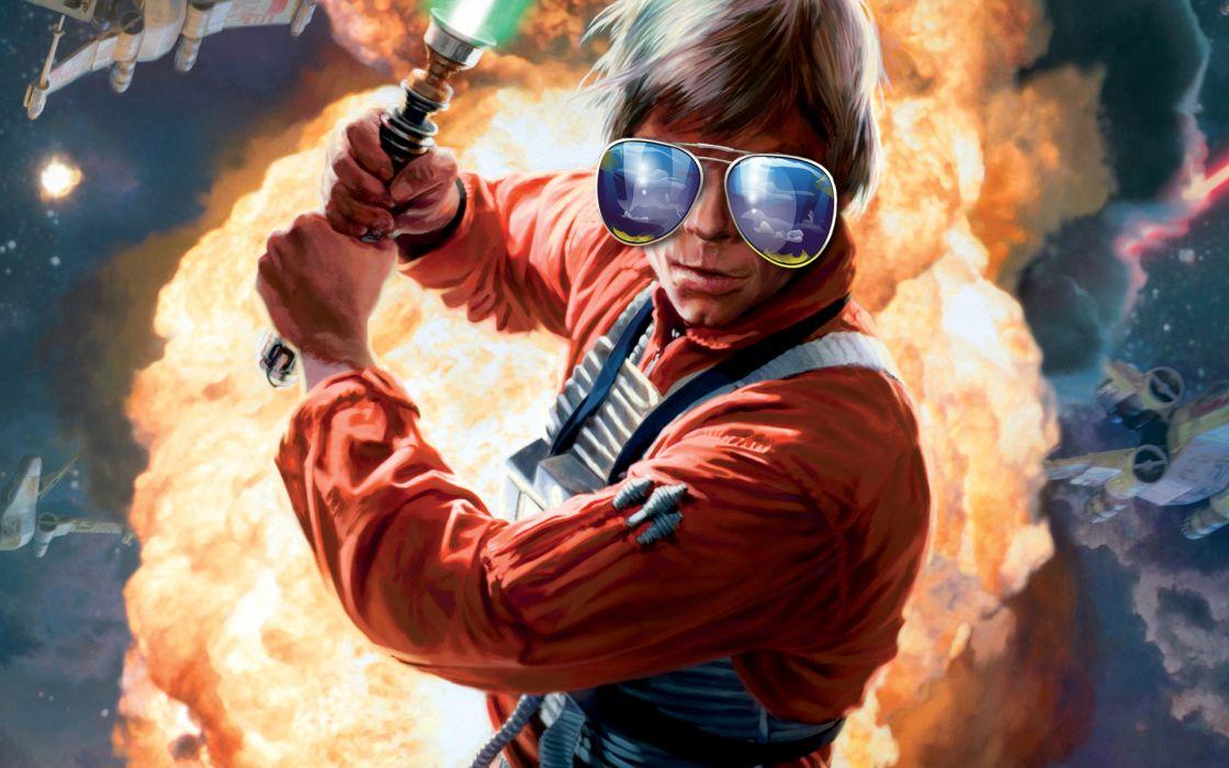 Star wars orange lightsabers glasses luke skywalker aviator wallpaper