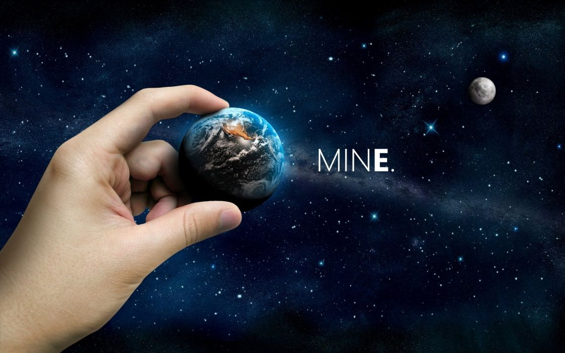 Abstract outer space world moon hands earth mine wallpaper