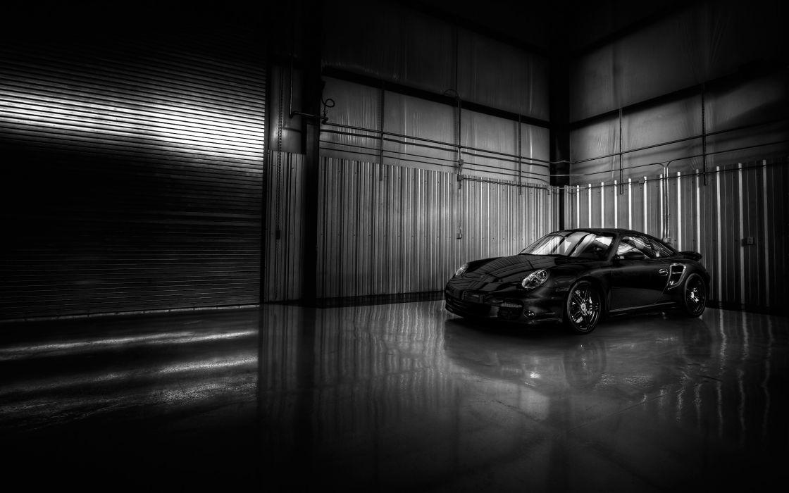 Black porsche cars garages wallpaper