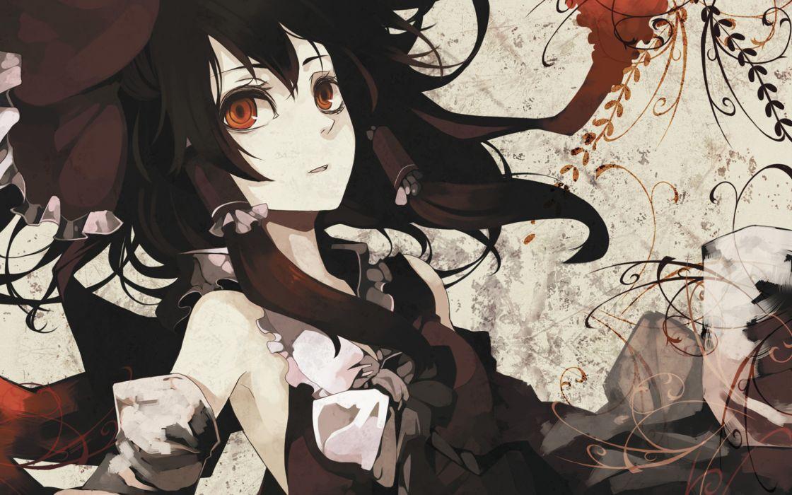 Brunettes video games touhou long hair miko hakurei reimu bows orange eyes detached sleeves wallpaper