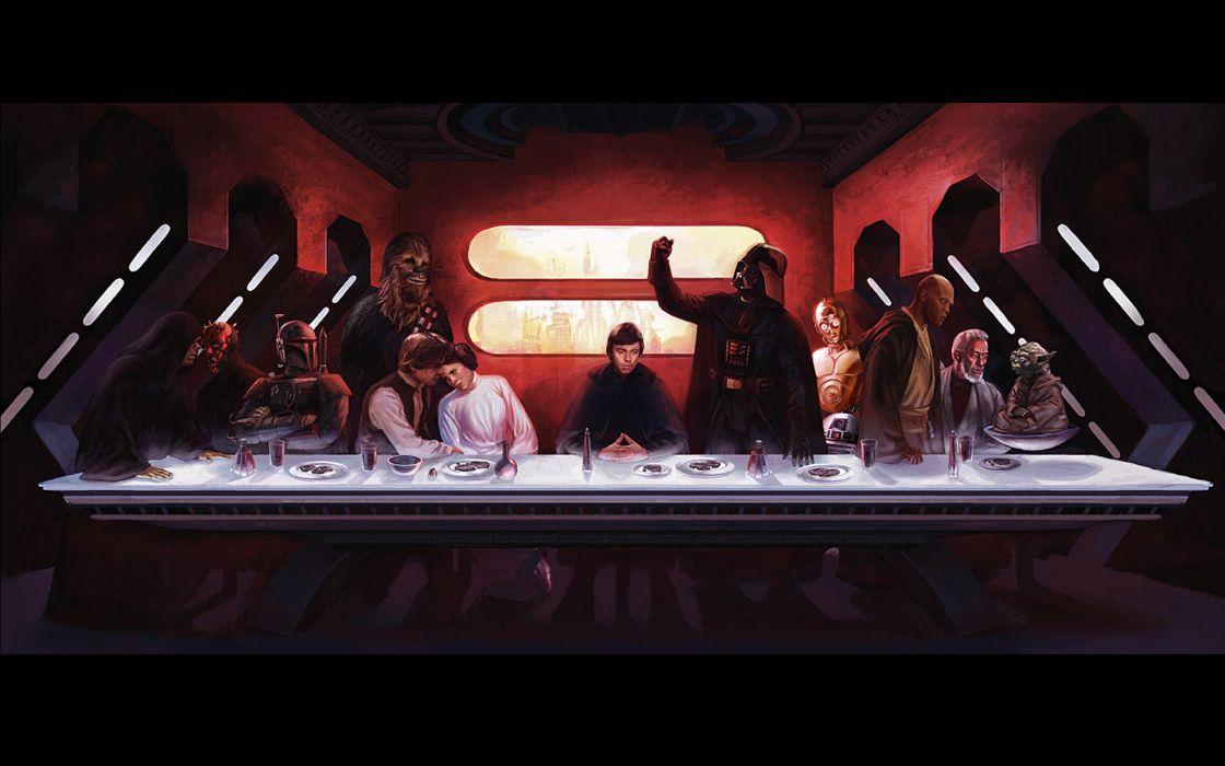 Star wars c3po darth maul darth vader boba fett luke skywalker han solo chewbacca leia organa yoda obi-wan kenobi mace windu wallpaper