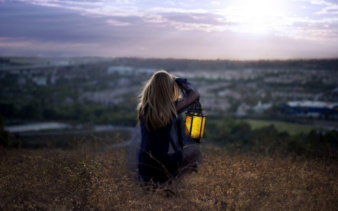 Women landscapes sitting lantern wallpaper