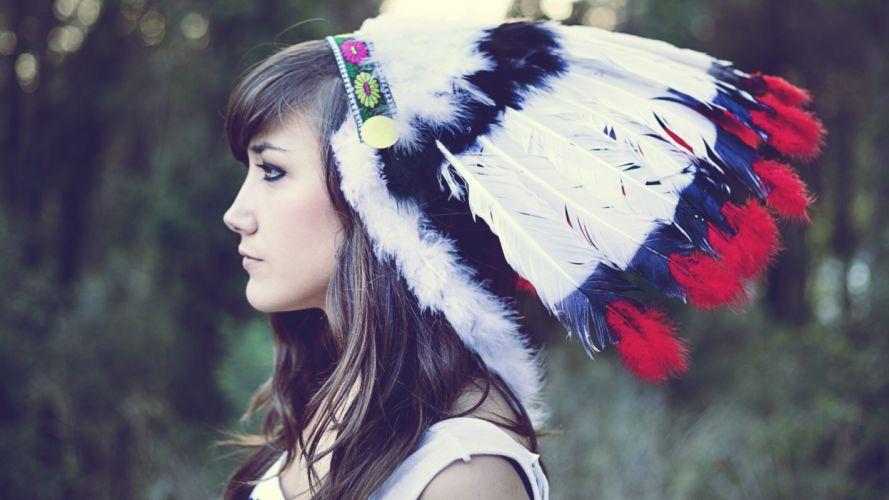 Brunettes women head dress native americans culture marta aragonA wallpaper