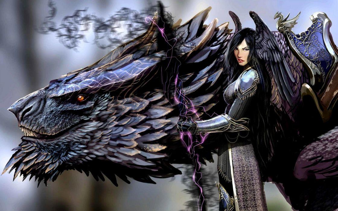 Dragons fantasy art artwork wallpaper