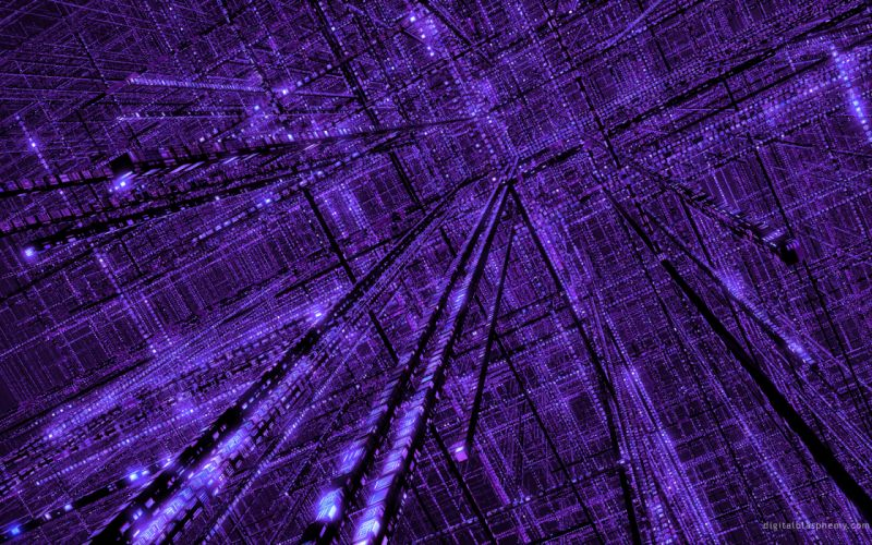 3D view abstract purple grid wallpaper
