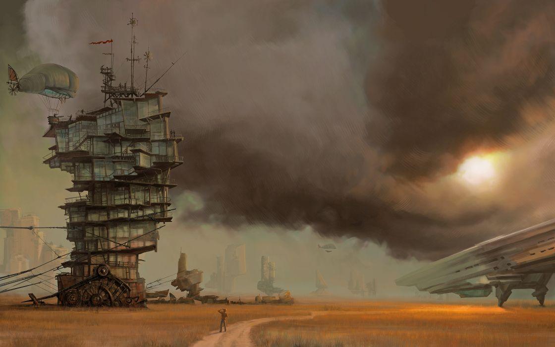 Steampunk vehicles airship wallpaper