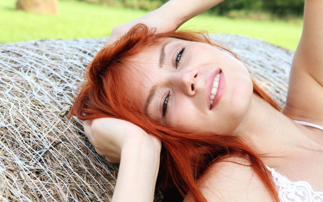 Women redheads models smiling kami wallpaper