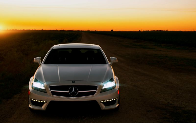Sunset cars fields outdoors artwork mercedes benz cls63 amg front view mercedes-benz headlights led wallpaper