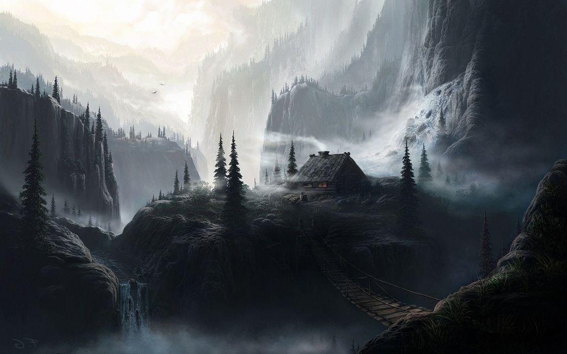 Landscapes dark houses bridges fantasy art artwork waterfalls wallpaper