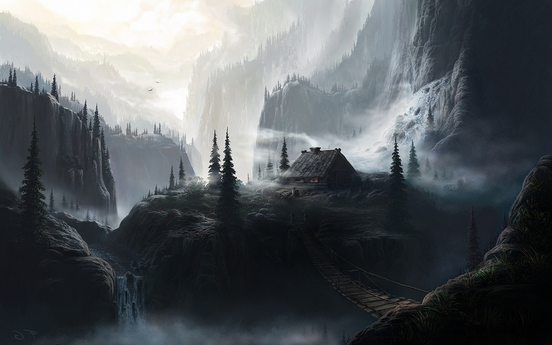 Landscapes Dark Houses Bridges Fantasy Art Artwork Waterfalls