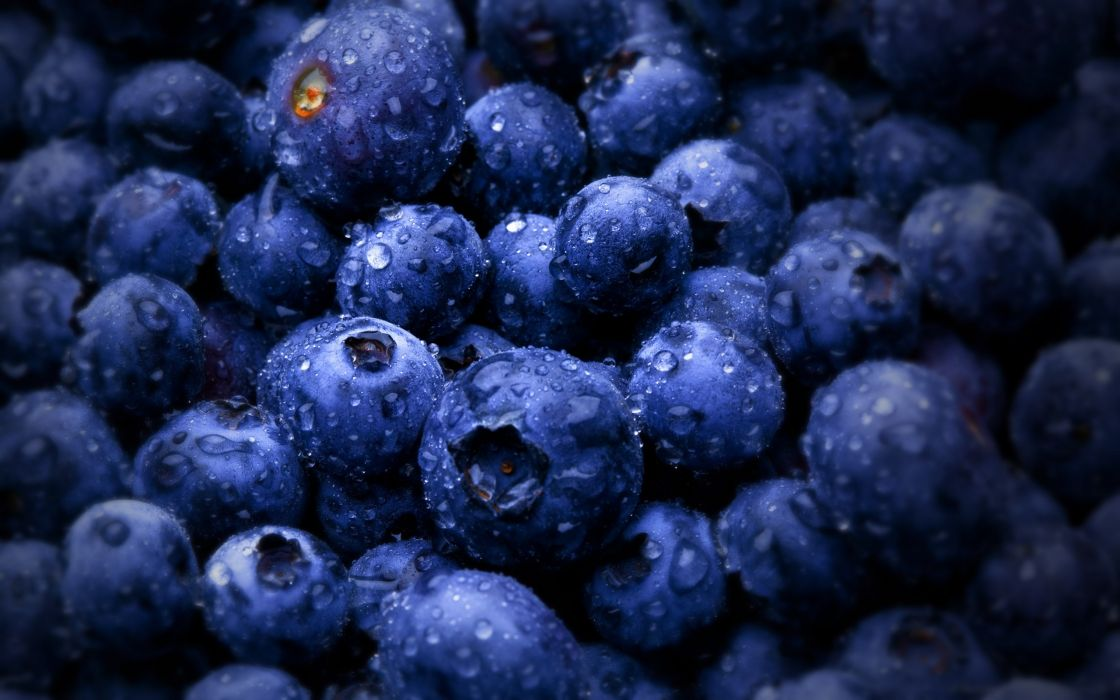 Fruits water drops macro blueberries wallpaper