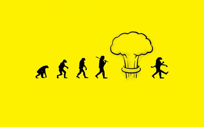 Minimalistic funny evolution nuclear explosions atomic bomb yellow background nuke wallpaper