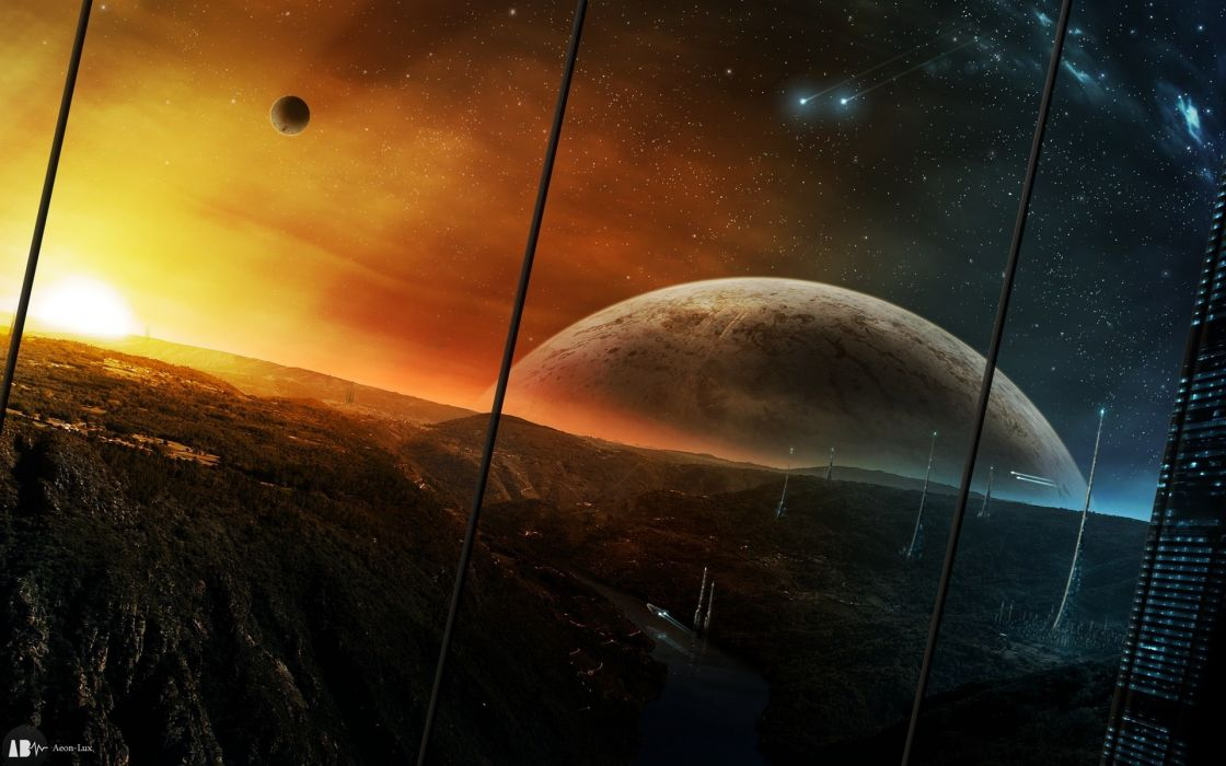 Landscapes futuristic planets wallpaper
