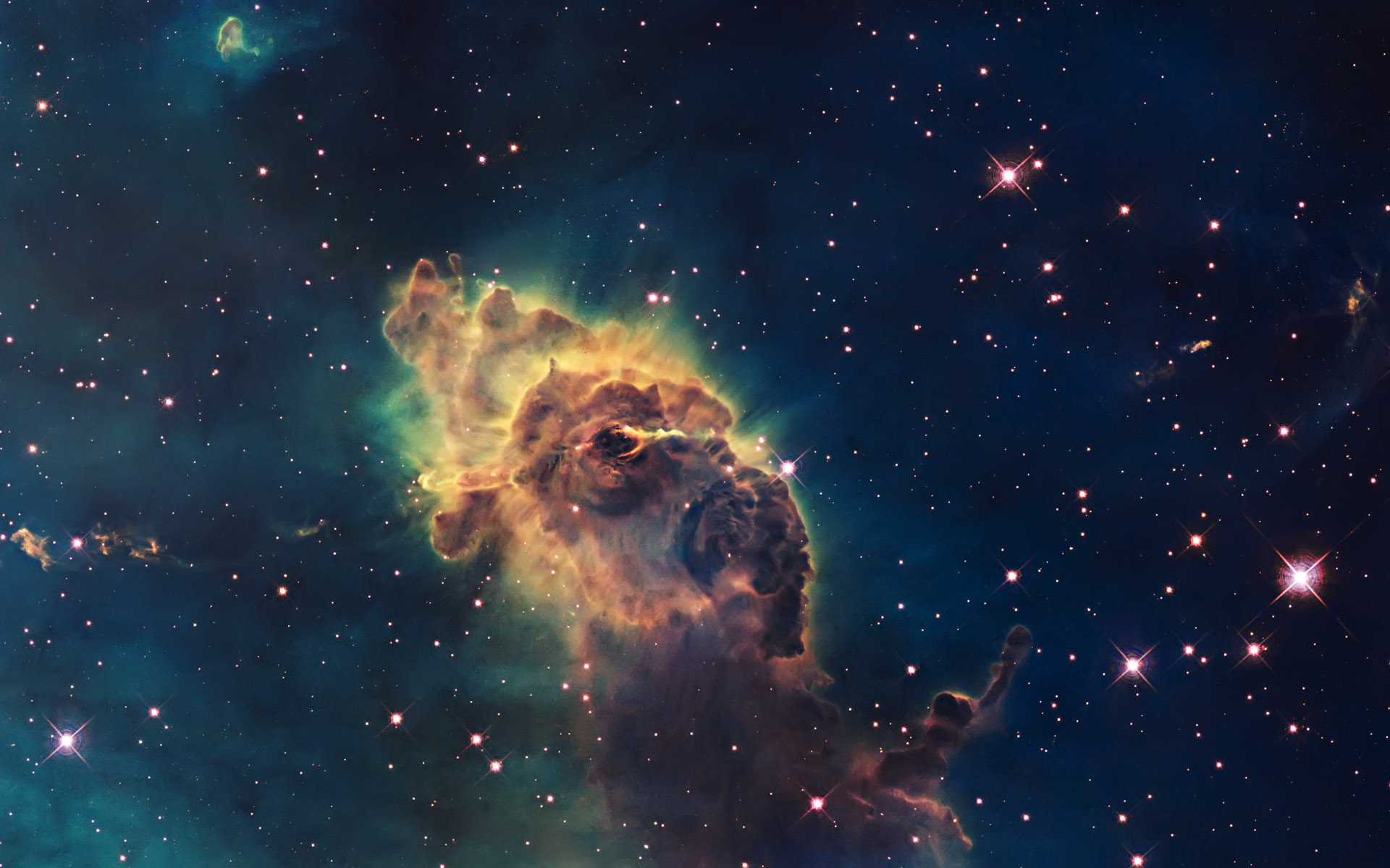 Clouds outer space stars galaxies planets nebulae dust ...