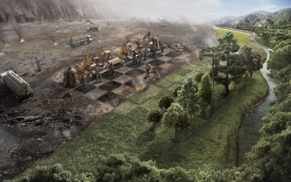 Landscapes nature trees chess earth surrealism human surreal artwork industrial plants rivers environment wallpaper