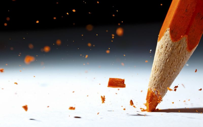 Close-up multicolor orange colored macro pencils wallpaper