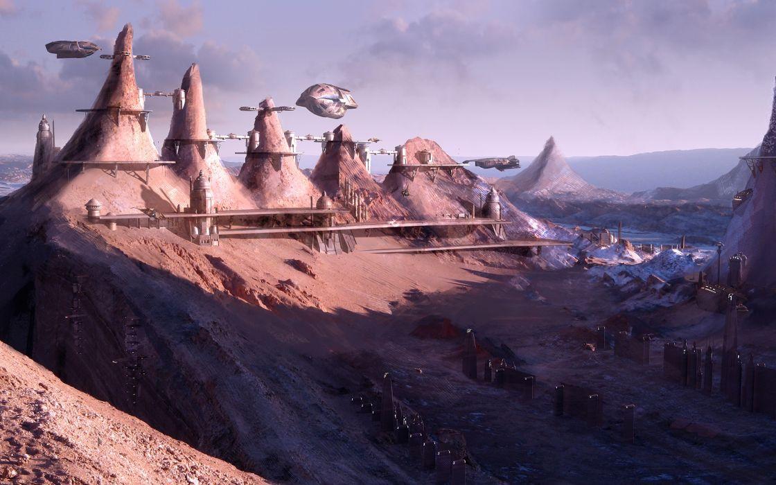 Cityscapes futuristic science fiction artwork wallpaper