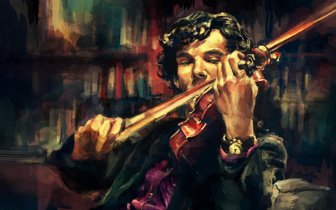 Men violins sherlock holmes artwork benedict cumberbatch sherlocked alice x zhang wallpaper