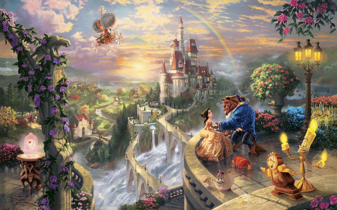 Love disney company castles movies fantasy art beast magic rainbows vehicles airship villages thomas kinkade waterfalls fairy tales beauty and the beast wallpaper
