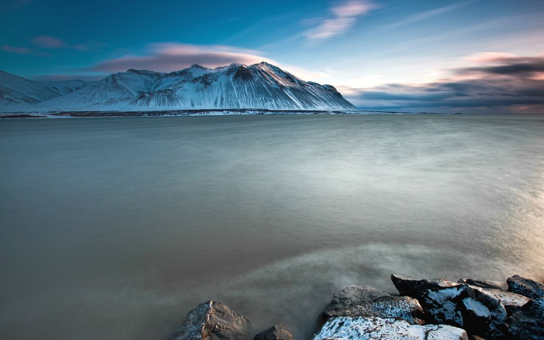 Mountains ocean landscapes snow coast sea iceland skyscapes wallpaper