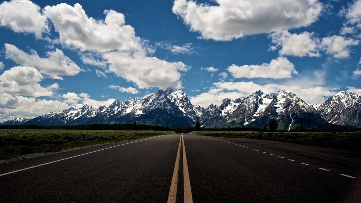 Mountains clouds landscapes horizon forest roads grand teton national park skyscapes snowy mountains wallpaper
