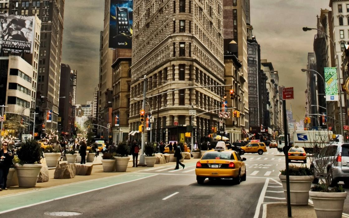 Cityscapes yellow buildings new york city wallpaper
