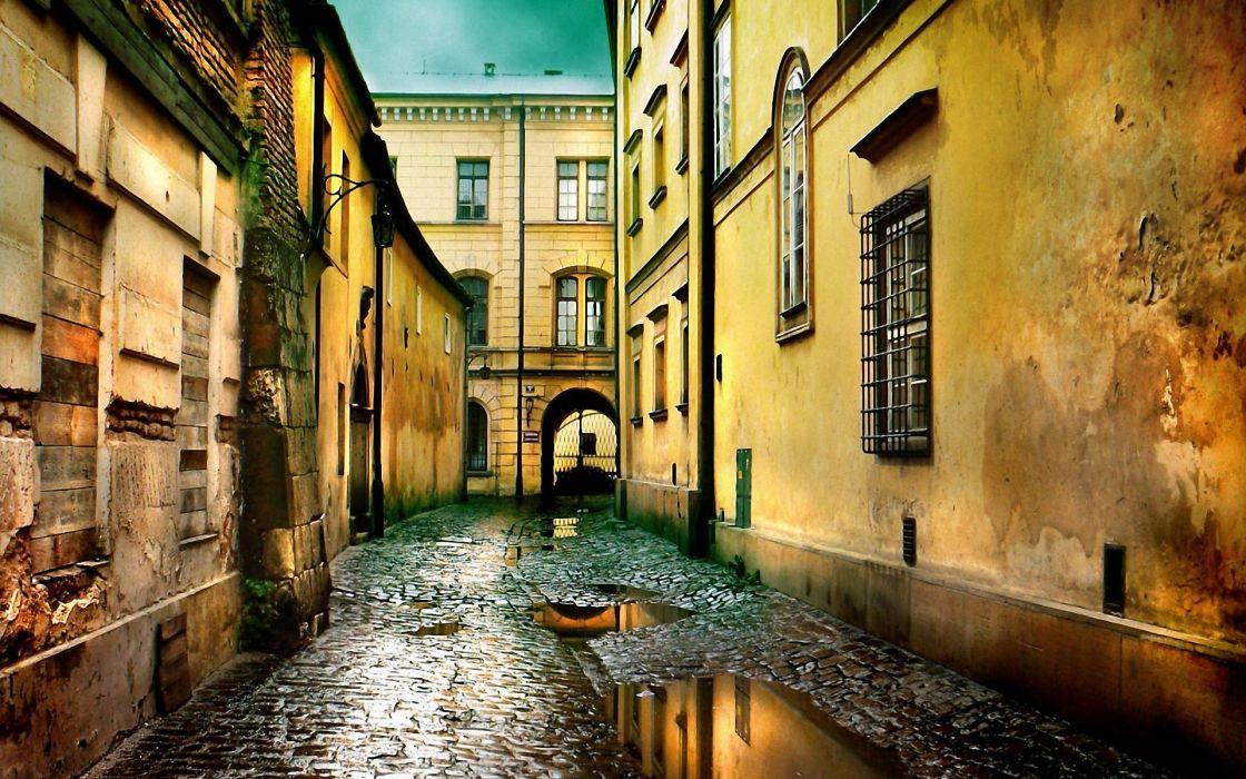 Streets buildings poland krakA wallpaper