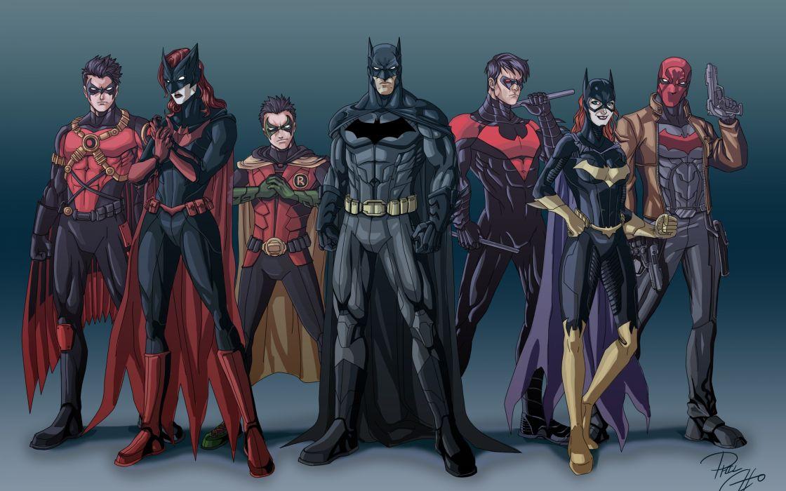 Batman robin dc comics comics suit superheroes batgirl justice league bodysuit nightwing batwoman artwork red hood red robin wallpaper