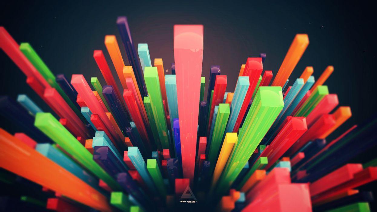 Minimalistic multicolor digital art lines wallpaper