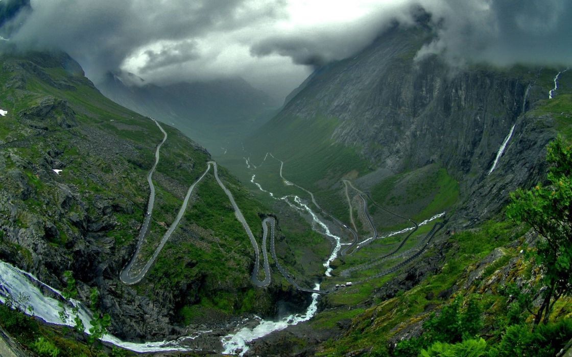 Mountains norway roads trollstigen great mountains wallpaper