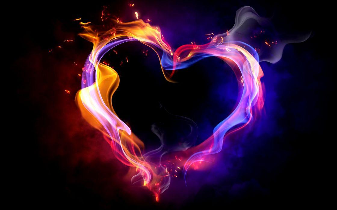 Fire smoke hearts black background wallpaper