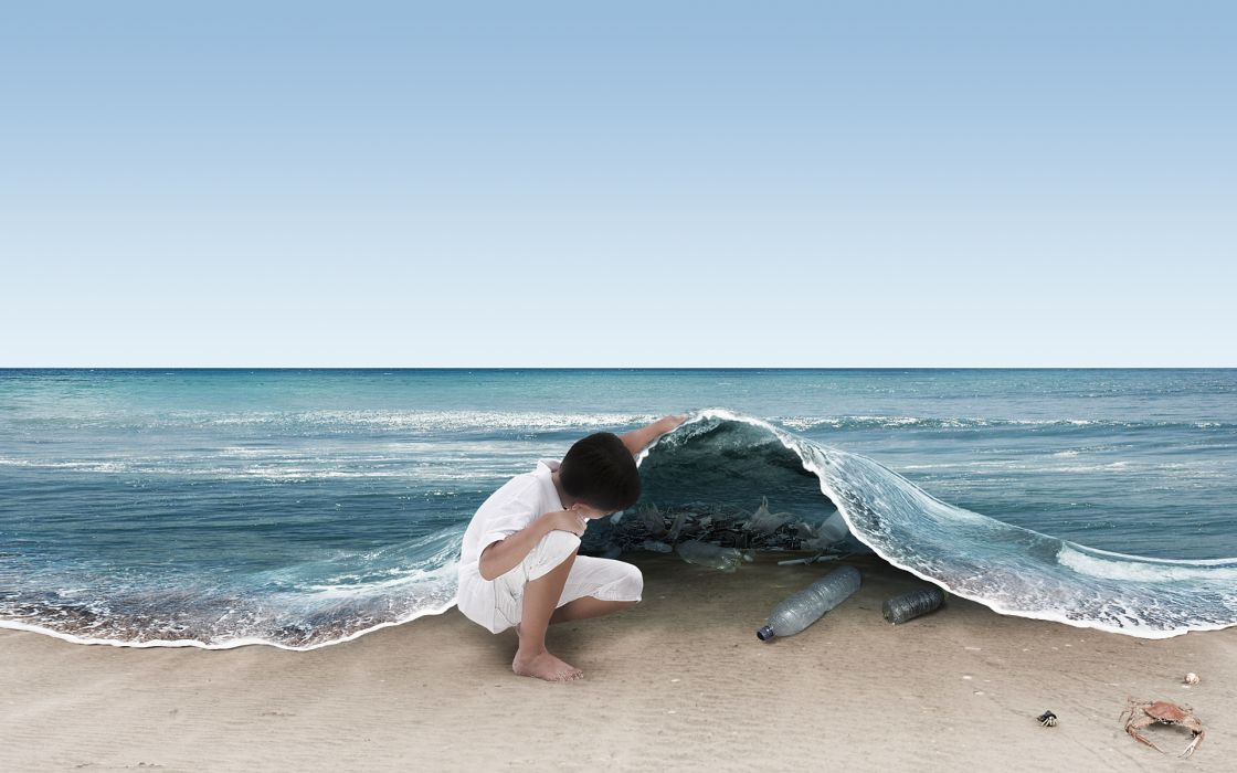 Ocean fantasy art garbage creative photomanipulations wallpaper