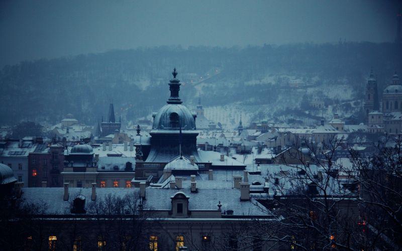 Snow cityscapes buildings wallpaper