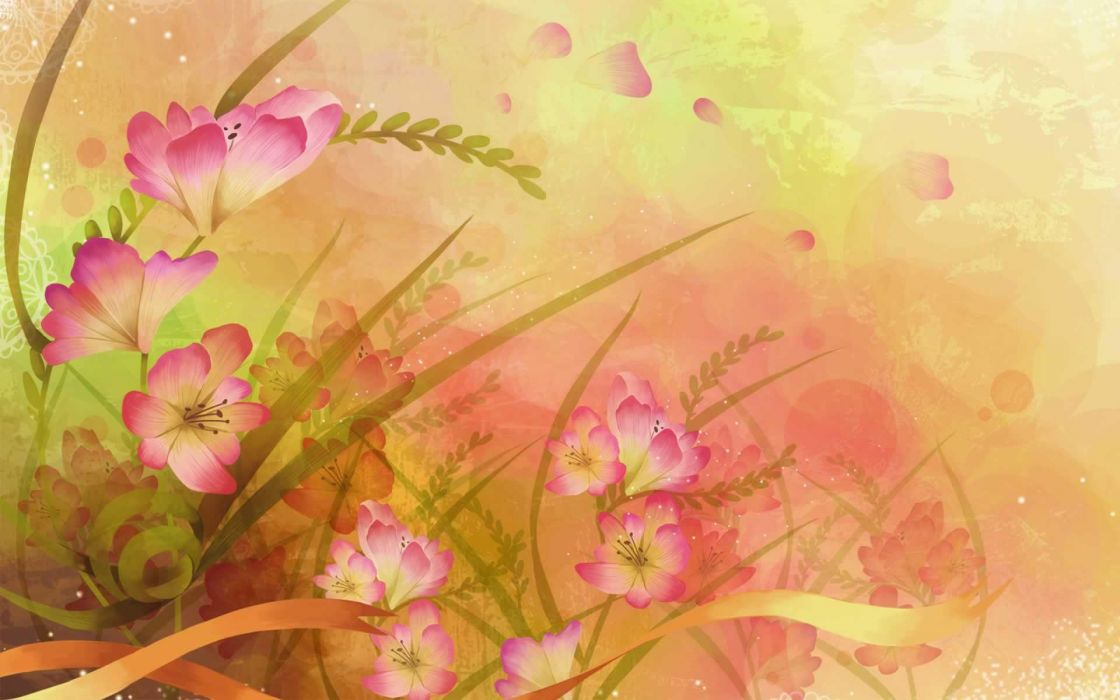 Nature flowers illustrations wallpaper