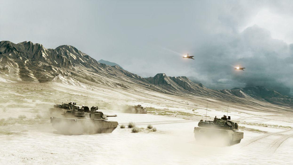 Desert tanks armor assault jet aircraft battlefield 3 games wallpaper