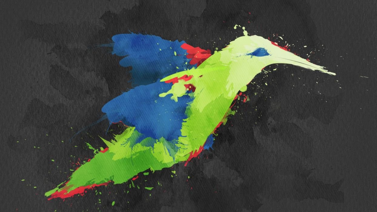 Creative artwork hummingbirds wallpaper