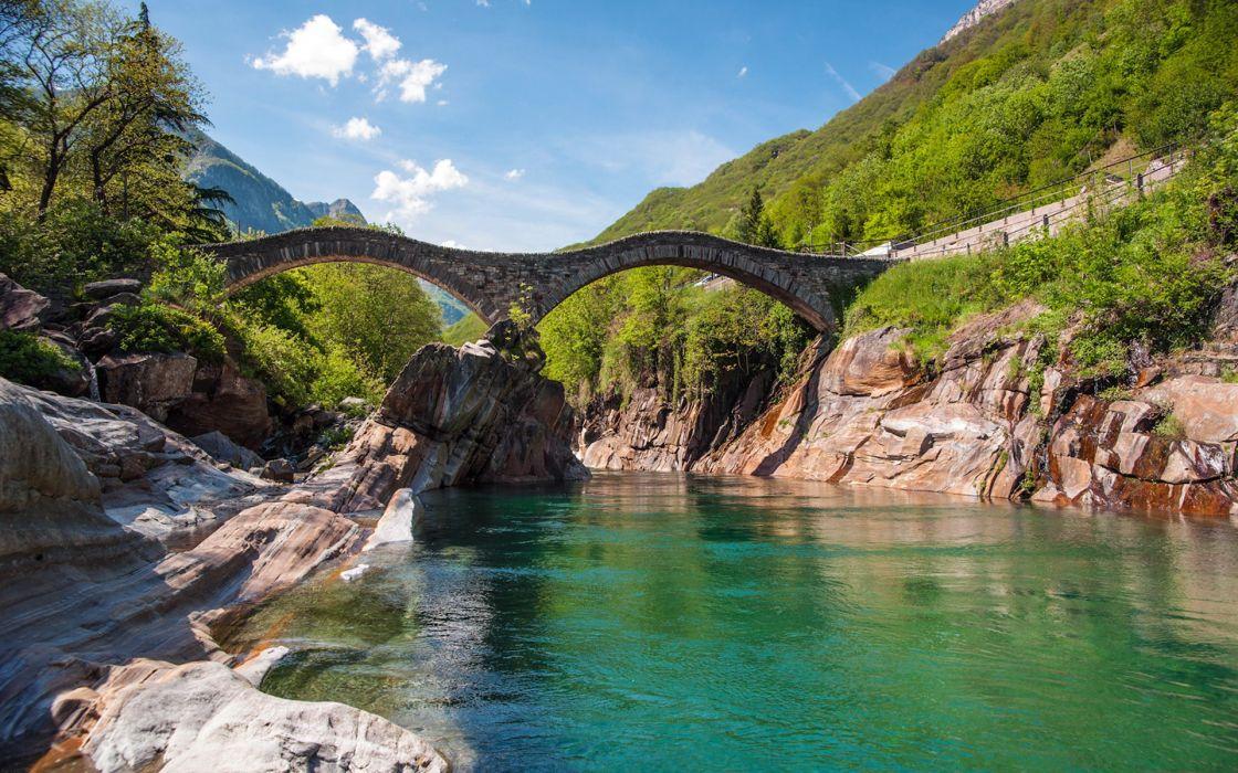 Mountains clouds landscapes bridges rivers wallpaper