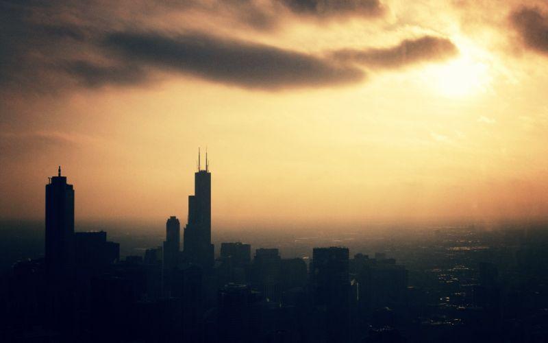 Sunset cityscapes skyline dawn chicago sunlight morning grainy wallpaper