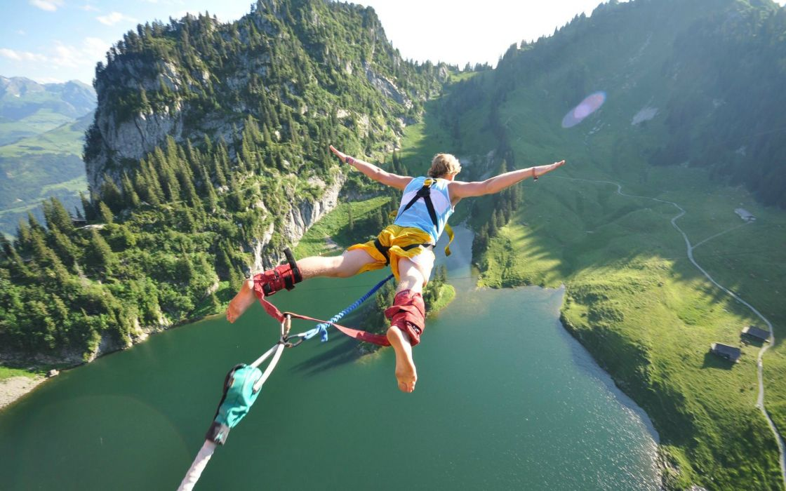 Mountains nature men jumping lakes view bungeejumping wallpaper