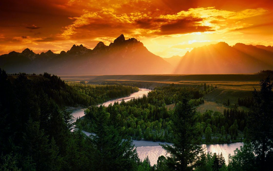 Sunset mountains clouds landscapes sun forest rivers wallpaper