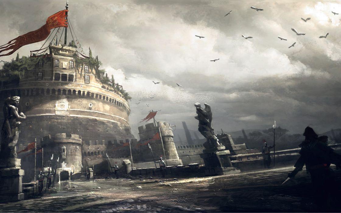 Video games assassins creed cityscapes assassins creed brotherhood artwork roma mausoleum of hadrian wallpaper