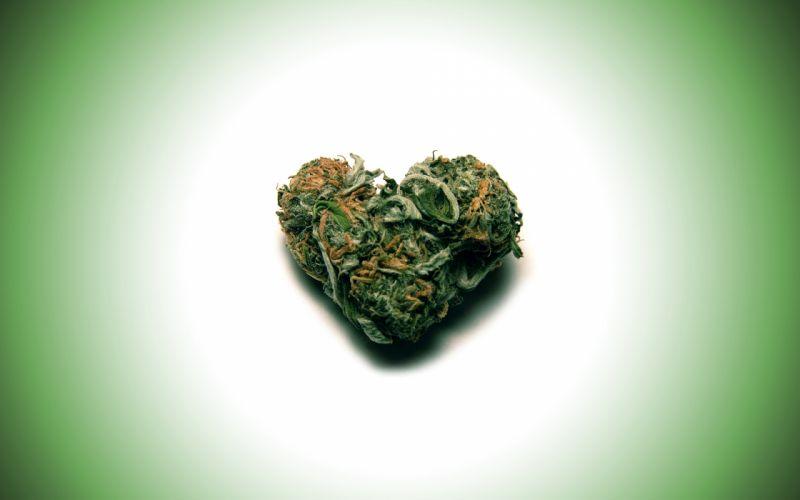 Green love drugs marijuana hearts wallpaper