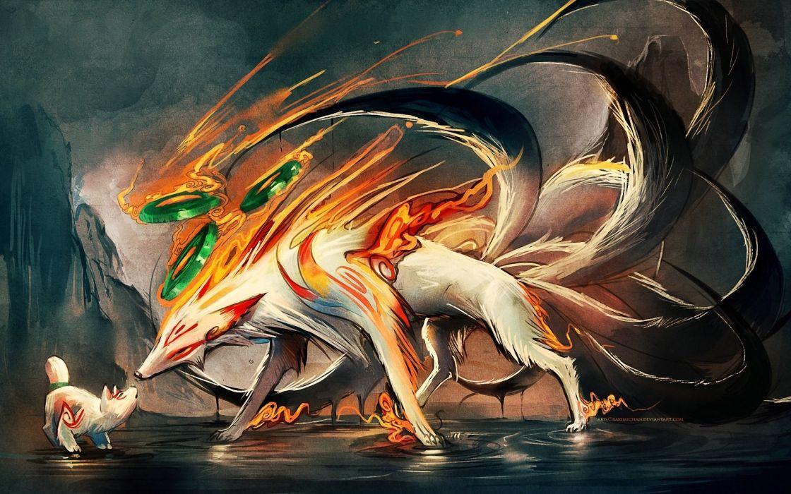 Tails animals okami nine ninetails digital art artwork amaterasu sakimichan demon foxes wallpaper