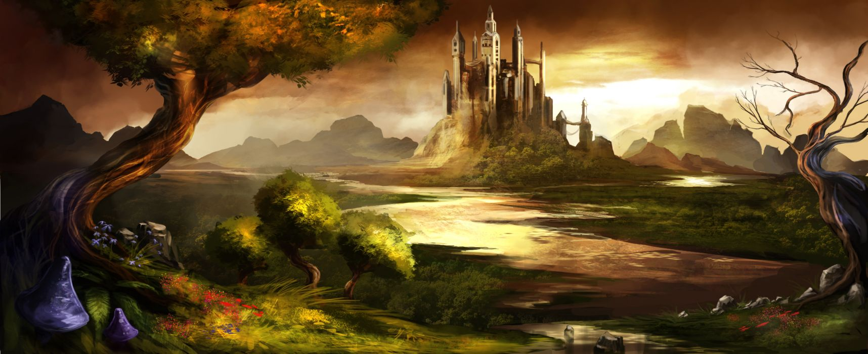 Landscapes castles trees trine rivers skyscapes wallpaper