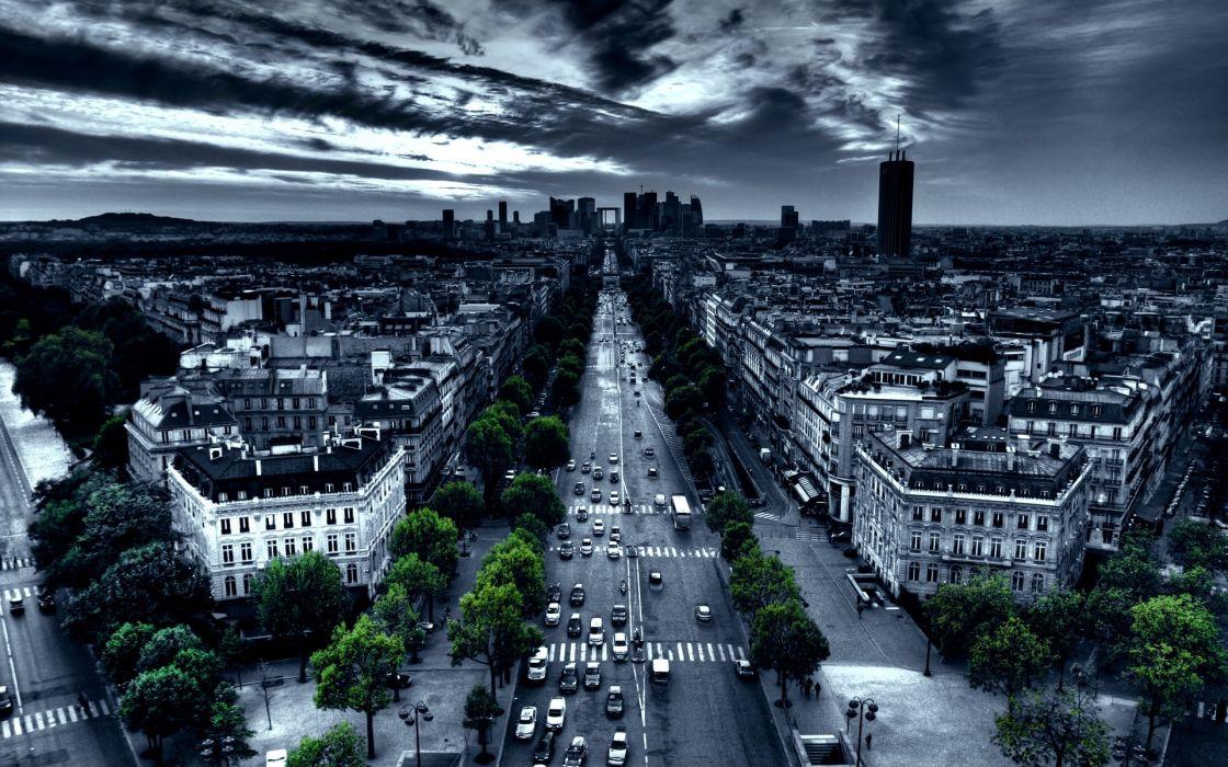 Paris cityscapes france traffic artwork selective coloring wallpaper