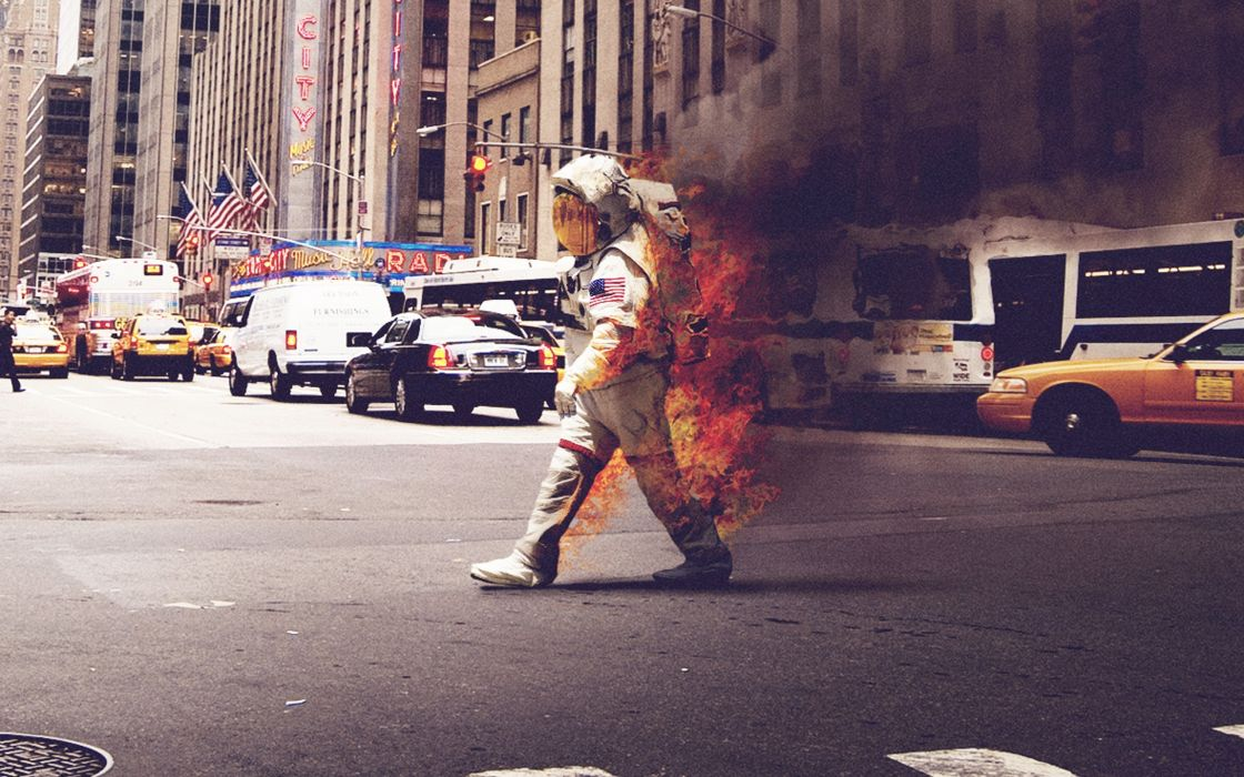 Cityscapes streets riot astronauts new york city on fire wallpaper