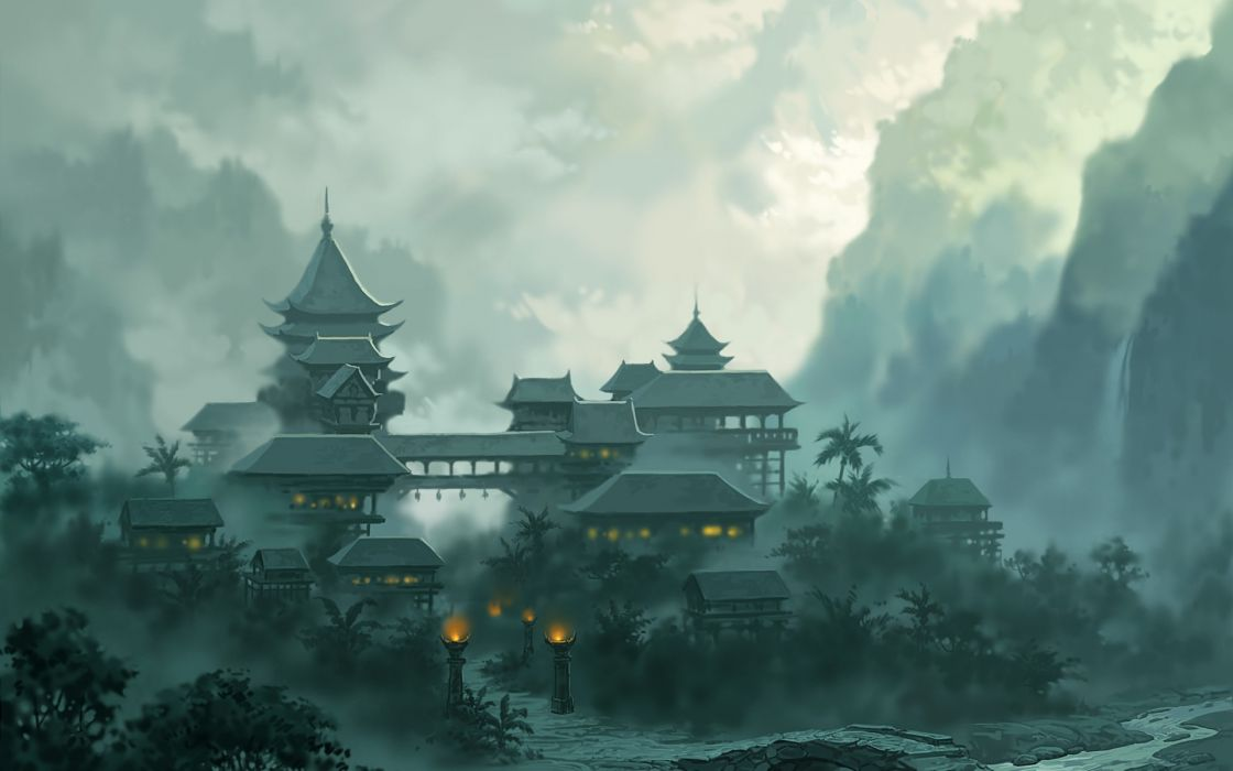 Artwork drawings asian architecture wallpaper