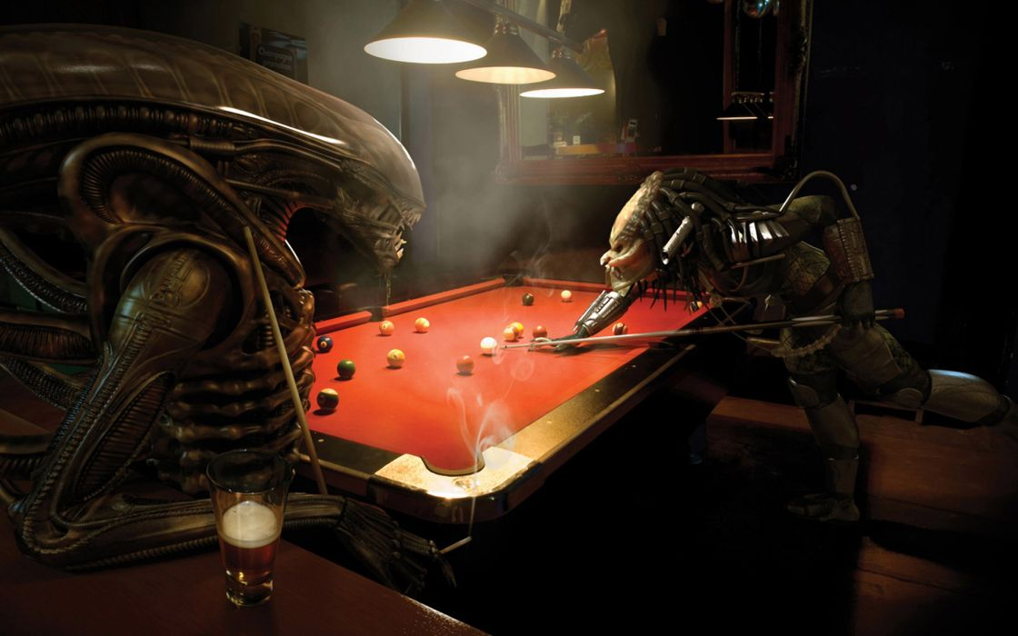 Predator bar aliens vs predator movie billiards tables alien wallpaper
